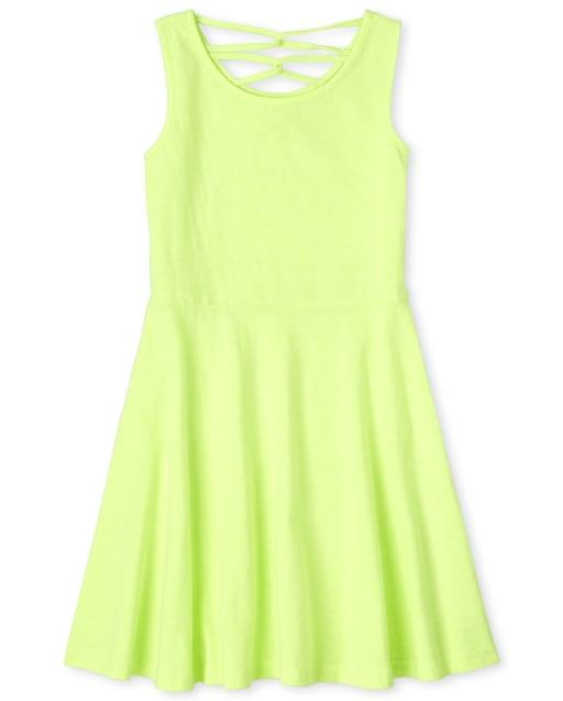 Girls Sleeveless Knit Cross Back Dress