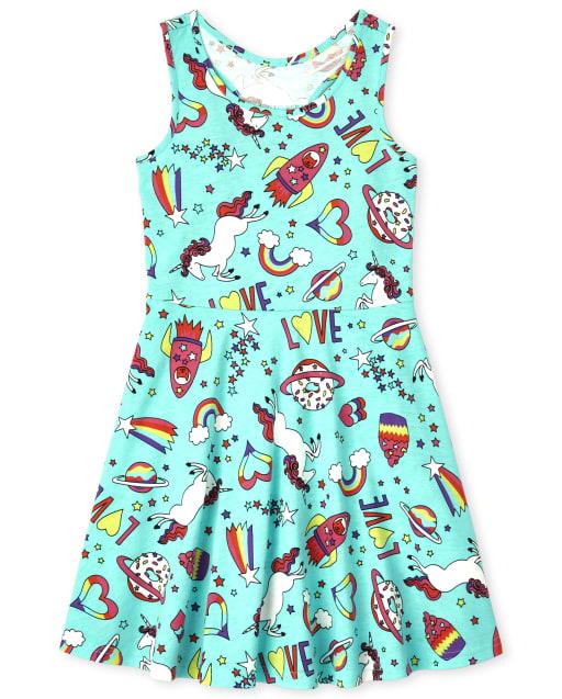 Girls Sleeveless Print Knit Racerback Dress