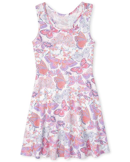 Girls Sleeveless Butterfly Print Knit Racerback Tank Dress