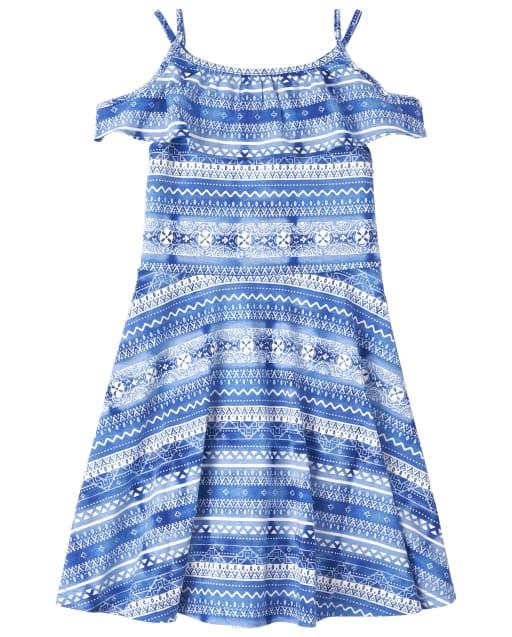 Girls Short Sleeve Striped Knit Cold Shoulder Dress