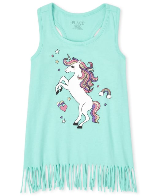 Girls Mix And Match Sleeveless Animal Graphic Fringe Racerback Tank Top