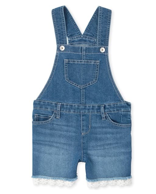 Girls Sleeveless Crochet Hem Denim Shortalls