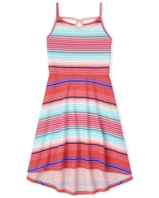 Girls Sleeveless Striped Knit Cut Out High Low Dress
