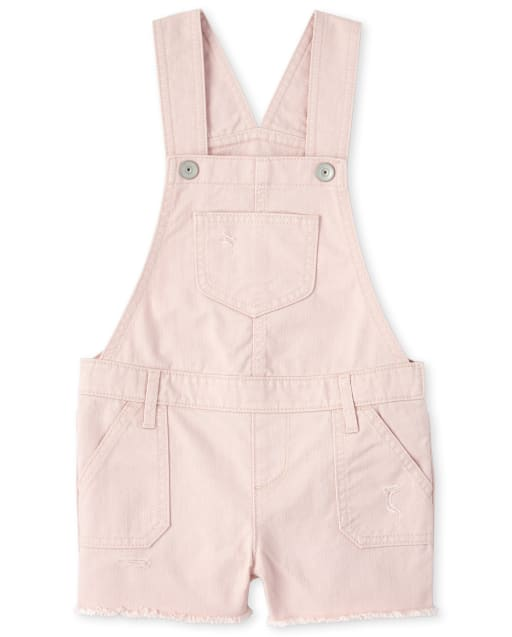 Girls Sleeveless Distressed Twill Shortalls
