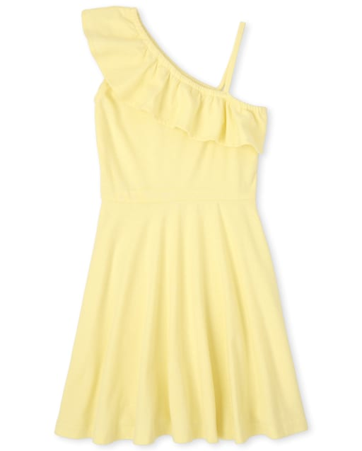 Girls Short Sleeve Ruffle Knit One Shoulder Dress