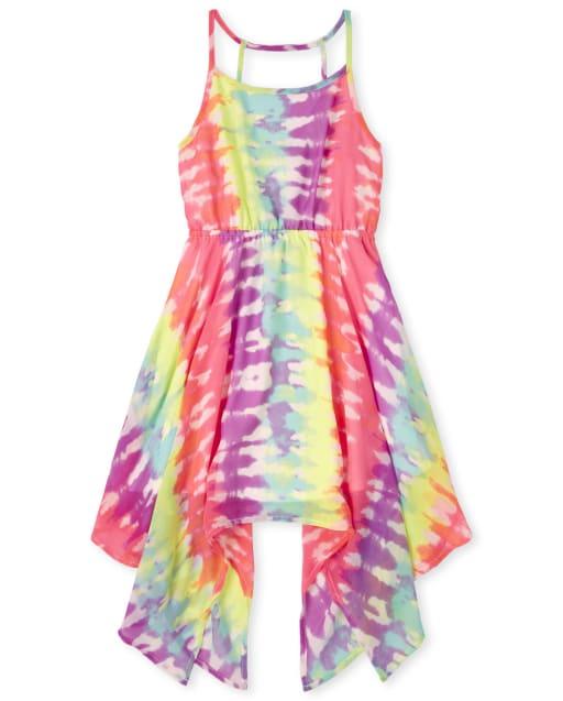 Girls Mommy And Me Sleeveless Tie Dye Woven Matching Sharkbite Hem Dress
