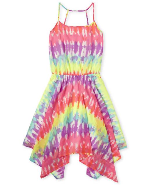 Womens Mommy And Me Sleeveless Tie Dye Woven Matching Sharkbite Hem Dress