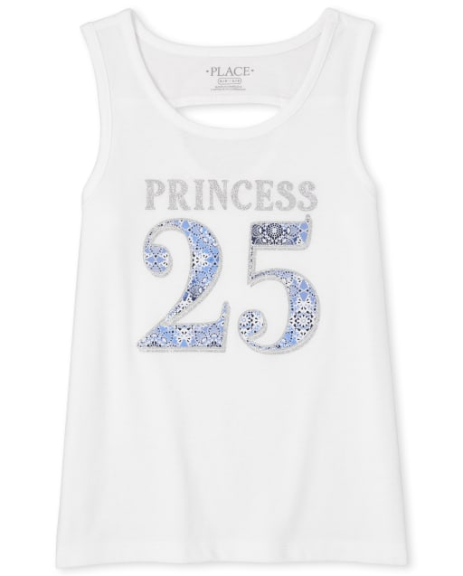 Girls Mix And Match Sleeveless Glitter Graphic Cut Out Tank Top