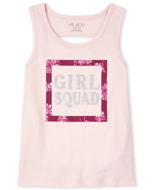 Girls Mix And Match Sleeveless Glitter Graphic Cut Out Tank Top