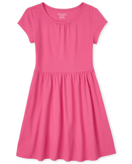 Girls Short Sleeve Shirred Knit Dress