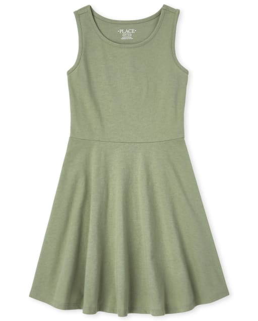 Girls Sleeveless Knit Tank Dress