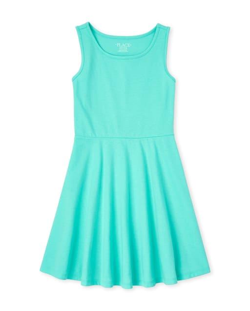 Girls Sleeveless Knit Tank Dress