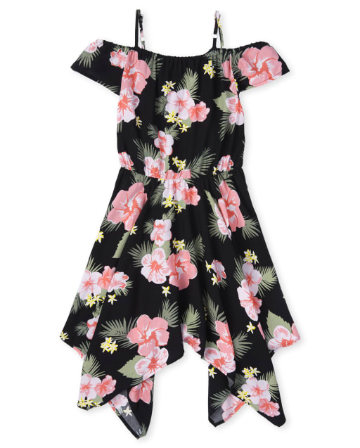 Girls Matching Family Short Sleeve Tropical Print Woven Off Shoulder Sharkbite Hem Dress