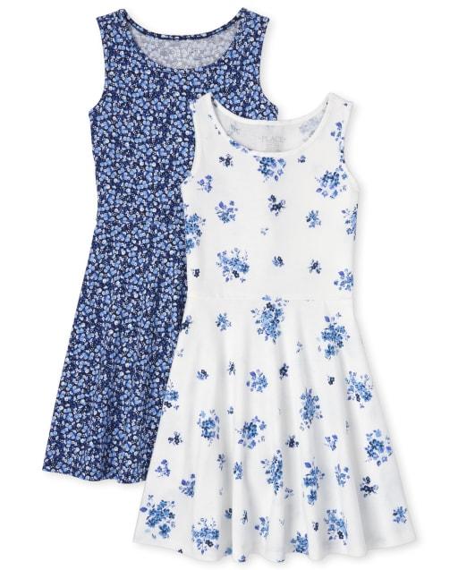 Girls Sleeveless Floral Print Knit Tank Dress 2-Pack