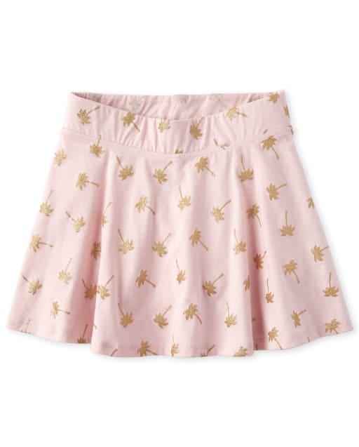 Girls Mix And Match Glitter Palm Tree Print Knit Skort