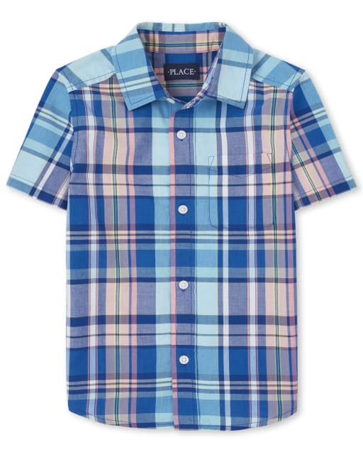 Boys Dad And Me Short Sleeve Plaid Poplin Matching Button Down Shirt