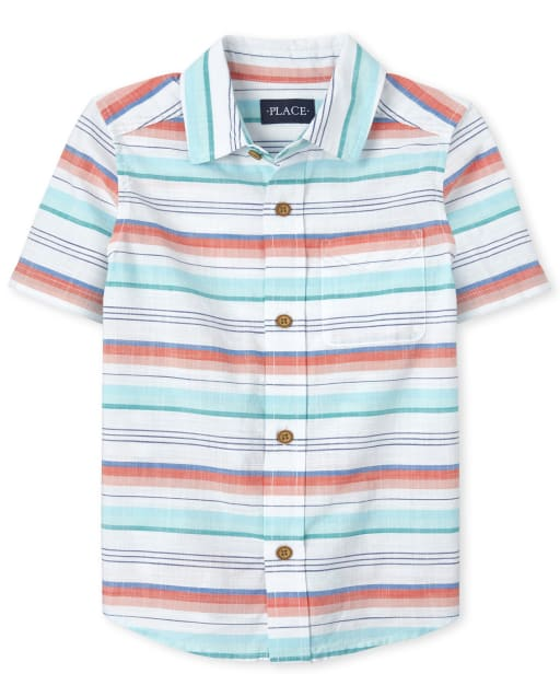 Boys Dad And Me Short Sleeve Striped Chambray Matching Button Down Shirt