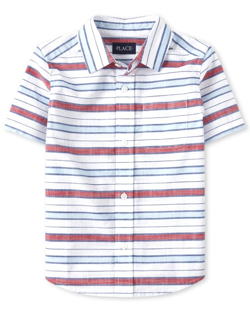 Boys Short Sleeve Striped Chambray Button Down Shirt