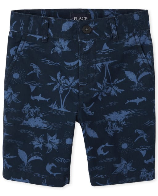 Boys Palm Tree Print Woven Chino Shorts