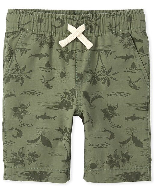 The Childrens Place Boys Big Printed Active Drawstring Shorts