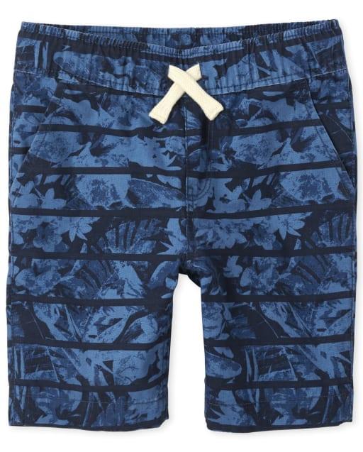 Boys Print Woven Pull On Jogger Shorts