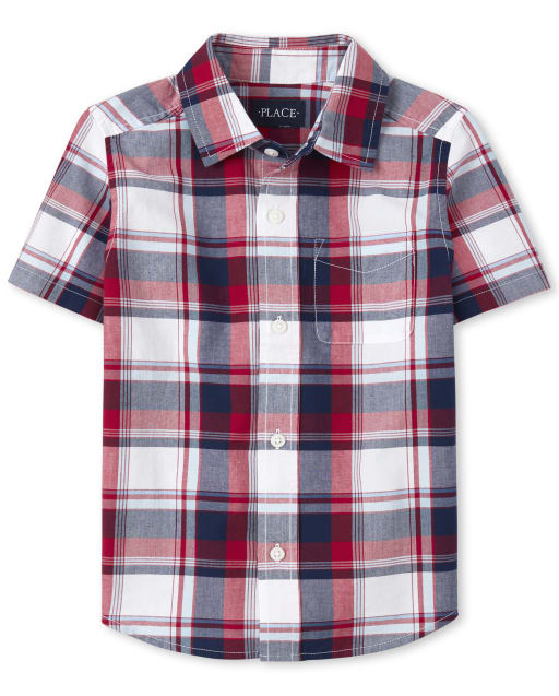 Boys Dad And Me Short Sleeve Plaid Poplin Matching Button Down Shirt