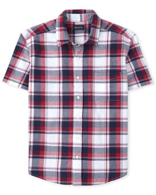 Mens Dad And Me Short Sleeve Plaid Poplin Matching Button Down Shirt