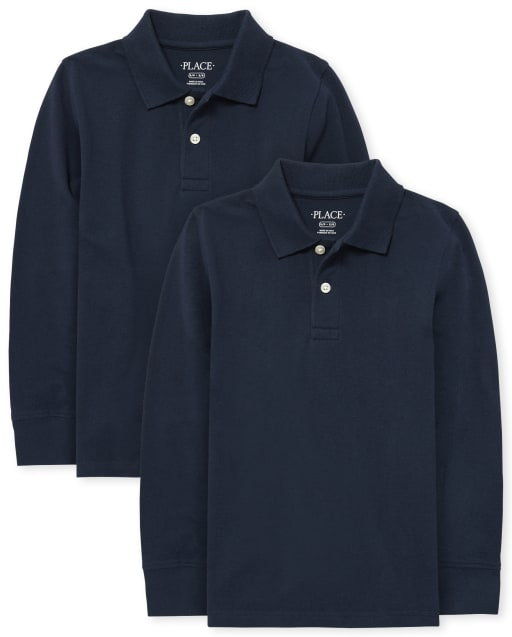 Boys Uniform Long Sleeve Pique Polo 2-Pack