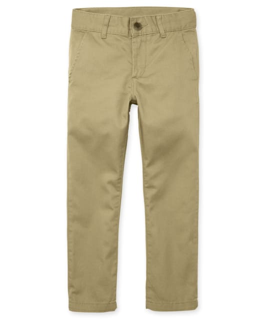 Boys Uniform Stain And Wrinkle Resistant Woven Stretch Skinny Perfect Chino Pants