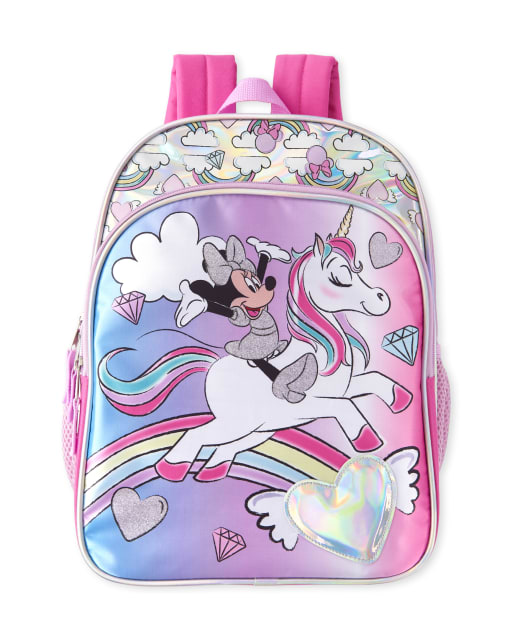Toddler Girls Holographic Minnie Mouse And Unicorn Backpack