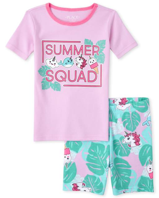 GIRLS UNICORN PYJAMAS PJS AGE 4-5 YEARS GIFT PRESENT VEST /& SHORTS SUMMER
