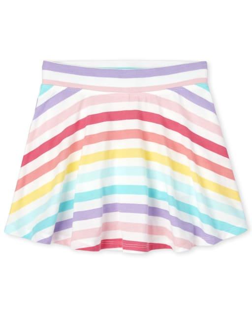 Girls Mix And Match Rainbow Striped Knit Skort