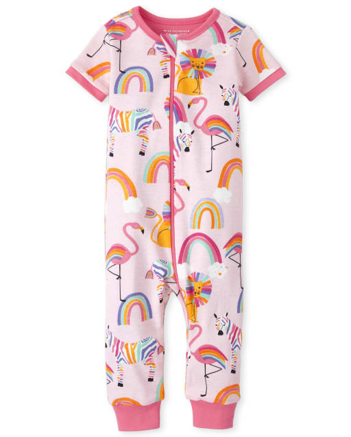 Baby And Toddler Girls Short Sleeve Rainbow Lion And Zebra Print Snug Fit Cotton One Piece Pajamas