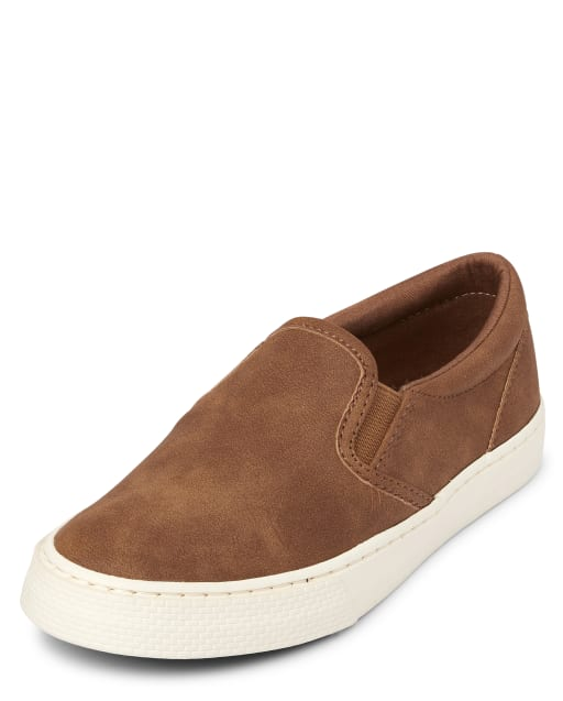 Boys Uniform Faux Leather Slip On Sneakers