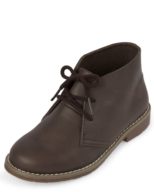 Boys Uniform Faux Leather Lace Up Boots
