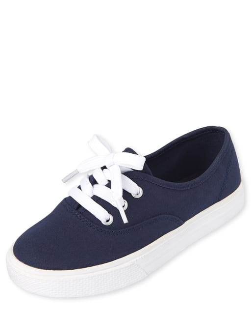 Girls Uniform Lace Up Canvas Sneakers