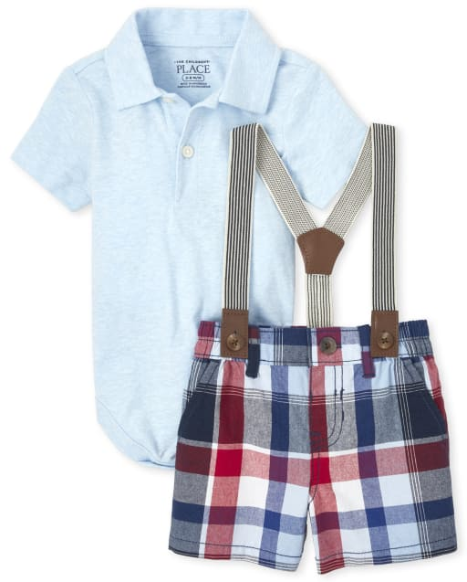 Baby Boys Short Sleeve Jersey Polo Bodysuit Plaid Shorts And Suspenders Outfit Set