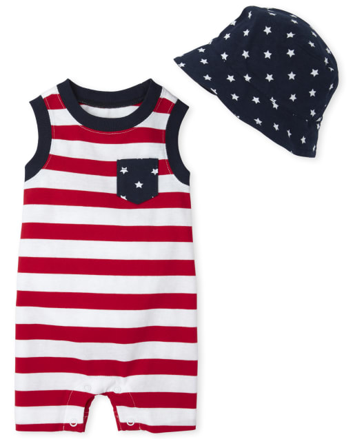 Baby Boys Sleeveless Striped Knit Romper And Bucket Hat Outfit Set