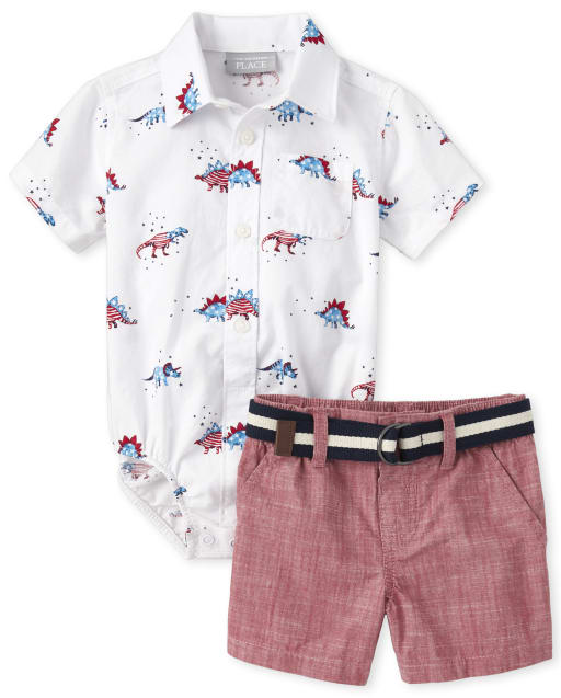Baby Boys Americana Short Sleeve Dino Print Poplin Button Down Bodysuit And Striped Belted Woven Chino Shorts 2-Piece Outfit Set