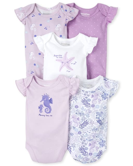 Baby Girls Short Sleeve Seahorse And Sea Life Print Bodysuit 5-Pack