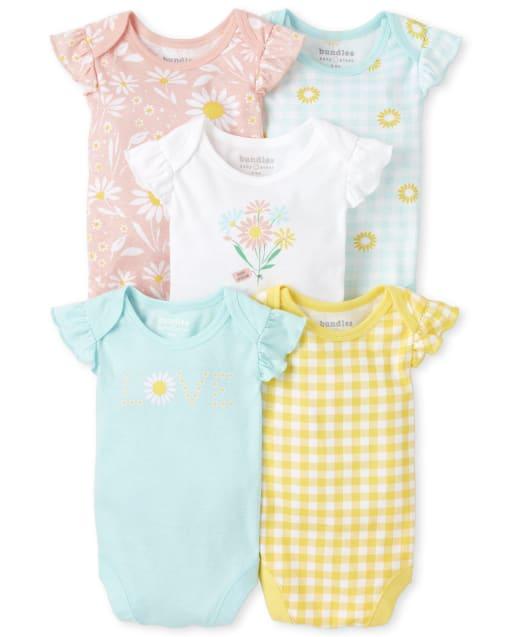 Baby Girls Short Flutter Sleeve Daisy And Gingham Print Bodysuit 5-Pack