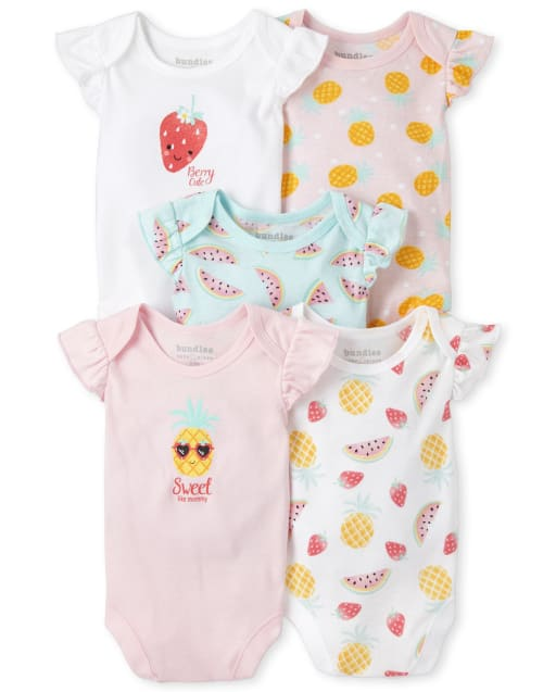 Baby Girls Short Flutter Sleeve Pineapple Watermelon And Strawberry Bodysuit 5-Pack