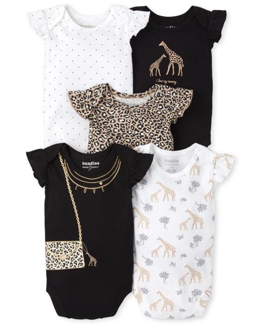 Baby Girls Short Flutter Sleeve Leopard And Giraffe Print Bodysuit 5-Pack