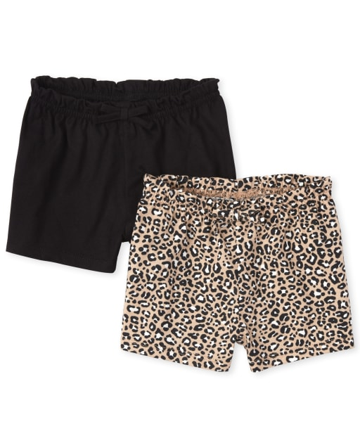 Baby Girls Leopard Knit Shorts 2-Pack