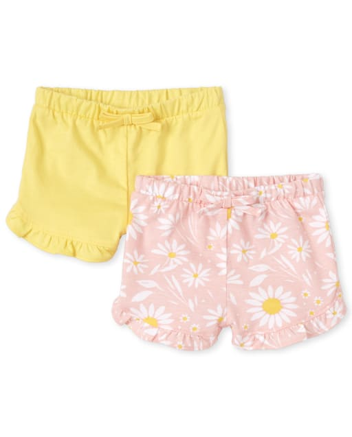 Baby Girls Daisy Print And Solid Knit Ruffle Shorts 2-Pack