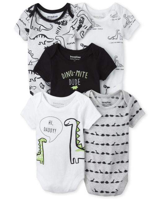 Baby Boys Short Sleeve 'Dino Mite Dude' Dino Bodysuit 5-Pack