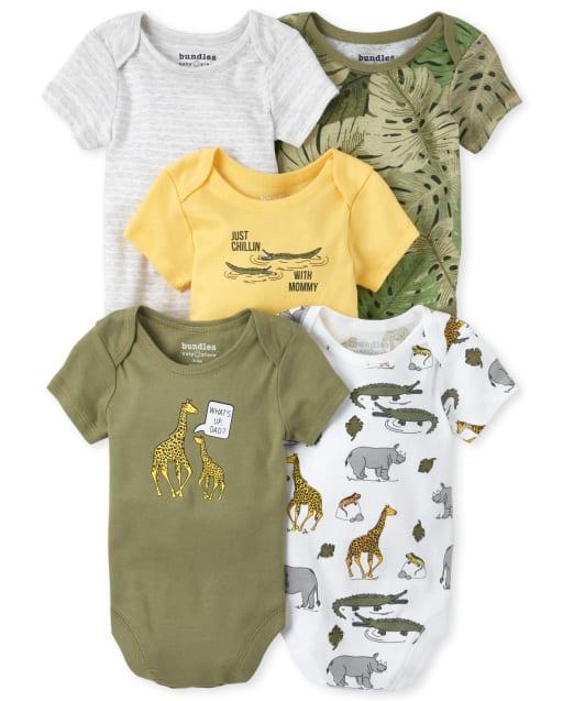 Baby Boys Short Sleeve Safari Print Bodysuit 5-Pack
