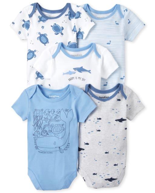 Baby Boys Short Sleeve Shark Print Bodysuit 5-Pack