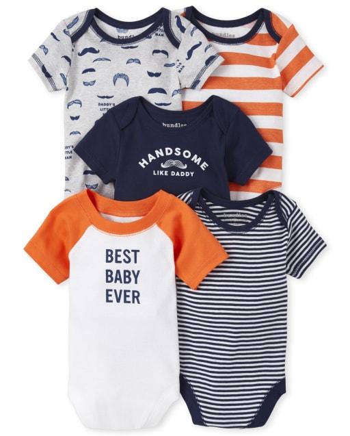 Baby Boys Short Sleeve 'Best Baby Ever' Striped Bodysuit 5-Pack