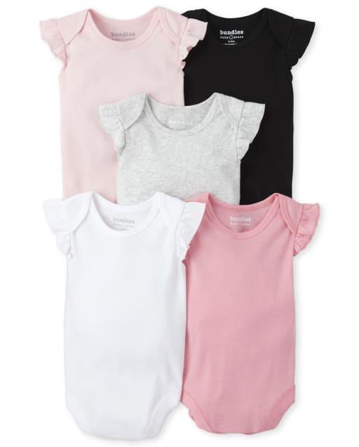 Baby Girls Short Flutter Sleeve Bodysuit 5-Pack